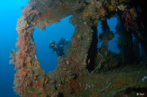 Super structure of Mawali wreck in Lembeh