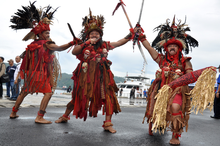 Kabasaran dance of Minahasa tribe, always performed during special event in Bitung