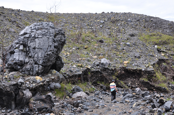 The trail nearby the Crater of Lokon Volcano